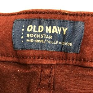 Old Navy Jeans - Old Navy Rockstar Mid-Rise Maroon Jeans Size 6
